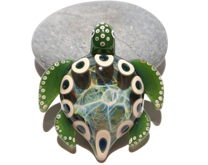 Blown Glass Turtle - Jade Green Tribal - Pendant - Glass Art - Sea Turtle - Handmade - Unique Jewelry - Cute -Turtle Necklace -Gift Ideas