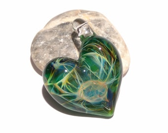 Glass Heart - Tranquil Forest Heart Pendant - Glass Jewelry - Glass Art - Love Energy - Blown Glass - Love Charm - Gift For Her
