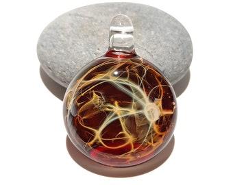 Glass Pendant - Fire Galaxy Pendant - Glass Art - Unique Bead - Blown Glass Jewelry - Glass Necklace - Boro Pendant - Universe Filament