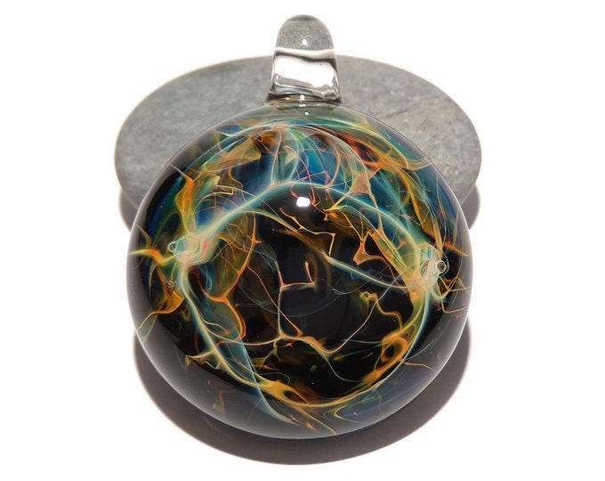Earthy Elements - Blown Glass Pendant - Flameworked Focal Bead - Free Shipping - Artist Direct - Vibrant and glossy smooth!