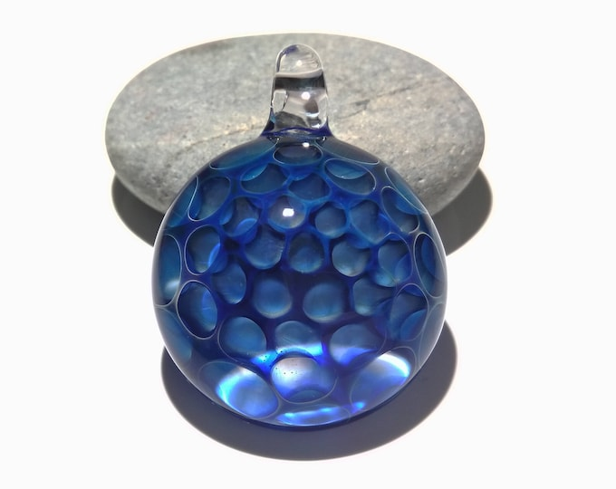Vibrant Blue Honeycomb Pendant - Hand Blown Glass Pendant - Handcrafted - Glass Art - Unique Necklace - Glass jewelry made with silver fume