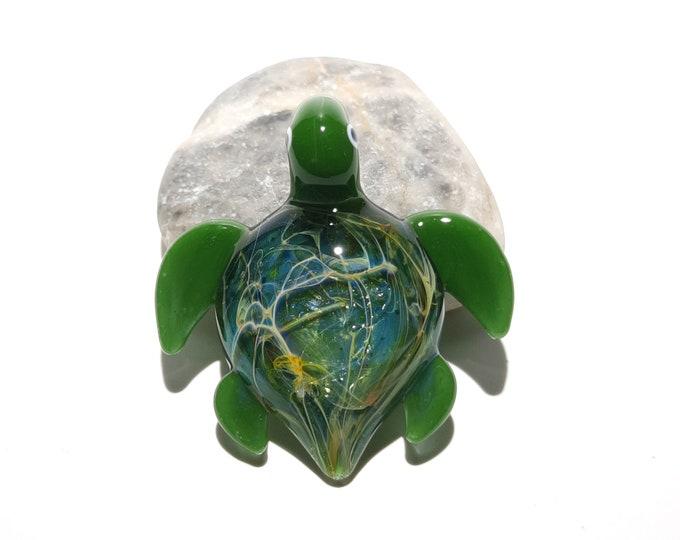 Ultra Small Turtle Pendant - Moss Green - Sea Turtle - Heady Glass - Handmade Blown Glass Jewelry - Turtle Gift  - Borosilicate - Artwork