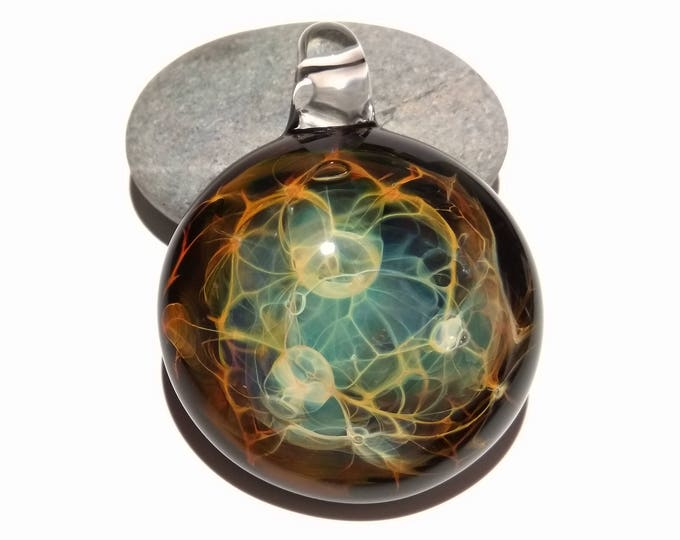 Energy Web - Blown Glass Pendant - Glass Jewelry - Flameworked Focal Bead - Artist Direct - Vibrant and glossy smooth!