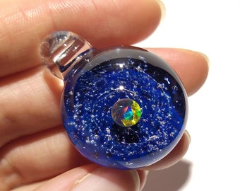 Blown Glass Pendant - Little Sun Space Scene - Neurology Gift - Trending Art - Science Jewelry - Best Seller -Necklace -Neuroscience -Opal