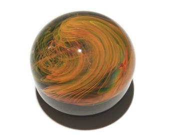 Paperweight - Golden Flame - Glass Art - Infinity - Blown Glass - Home Decor - Handmade Gift - Ornaments - Desk Gift Ideas - Borosilicate