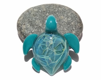 Glass Turtle - Baby Starburst Turtle Pendant - Glass Pendant - Glass Jewelry - Blown Glass - Artist Signed - Details of Silver