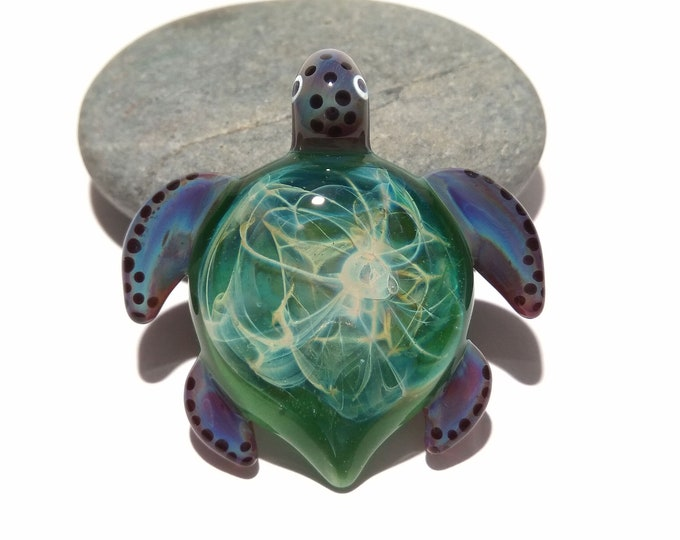 Water Fern Turtle Pendant - Glass Pendant - Glass Jewelry - Glass Art - Turtle - Blown Glass - Artist Signed - Details of Pure Silver