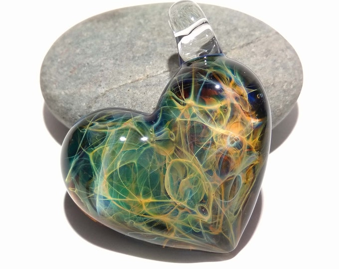 Heart Pendant - Nova Universe Heart - Glass Jewelry - Glass Art - Blown Glass - Love Pendant - Unique Art Bead - Made with Pure Silver