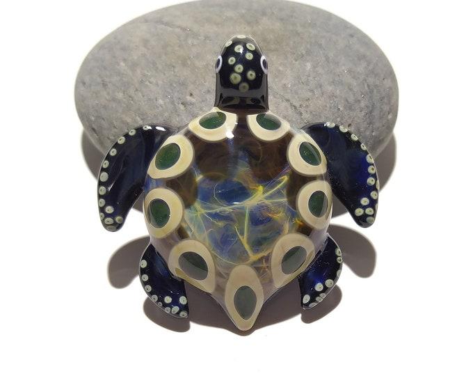 Blown Glass Turtle - Earthy Turtle Pendant - Glass Art - Sea Turtle - Handmade - Unique Jewelry - Cute - Turtle Necklace - Great Gift Ideas