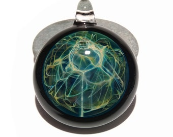 Earth Energy Pendant - Glass Art - Handmade Pendant - Borosilicate - Blown Glass Jewelry - Detailed Silver Work - Designer Glass jewelry
