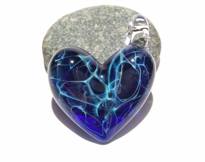 Glass Heart - Deep Space Heart Pendant - Glass Jewelry - Glass Art - Heart Pendant - Blown Glass - Heart Charm - Unique Bead