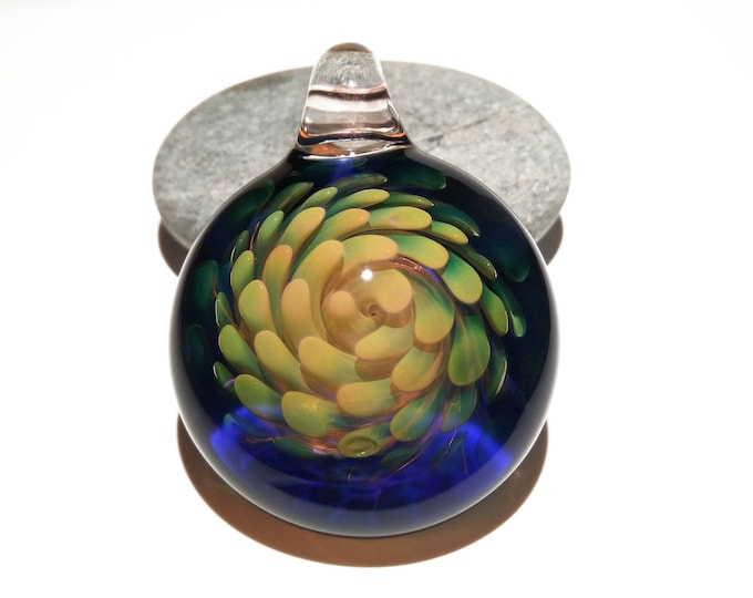 Sacred Flower Implosion Pendant - Hand Blown Glass Pendant - Handcrafted - Glass Art - Unique Necklace - Pure Gold with Cobalt