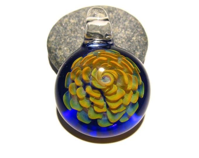 Glass Flower - Pendant - A Handcrafted Glass Art Focal Bead made by Michaela  - Flower with Cobal Blue Glass Background. Pendant Necklace.