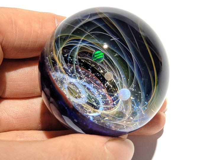 A New Galaxy in the Universe - Cosmic Glass Art - Art glass - Triple Opal Planet - Galaxy in Glass - Blown Glass Decor - Unique Space Gift