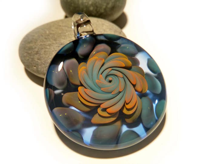 Magic Seed Implosion Pendant - Hand Blown Glass Pendant - Handcrafted - Glass Art - Unique Necklace - Glass jewelry - Pure Gold Fume