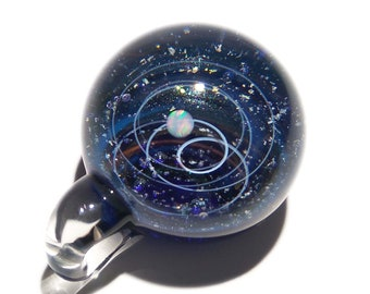 Glass Galaxy Pendant, With A Blue Water Opal Planet - Cosmic Gift Idea - Unique Space Gift - A Universe in Glass!!! Handmade glasswork.