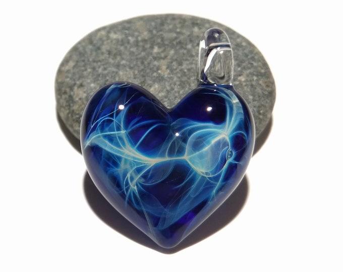 Glass Heart - Deep Space Heart Pendant - Glass Jewelry - Glass Art - Heart Pendant - Blown Glass - Heart Charm - Unique Bead