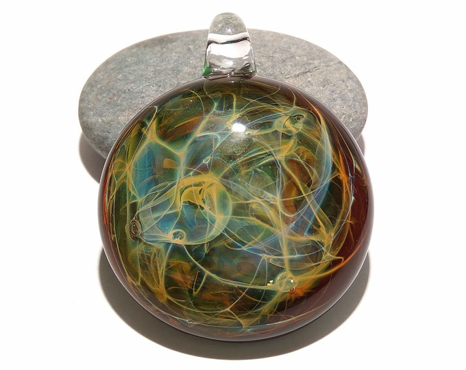 Glass Pendant - Rainforest Pendant - Glass Art - Glass Universe - Blown Glass Jewelry - Glass Necklace - Boro Pendant - Universe Filament