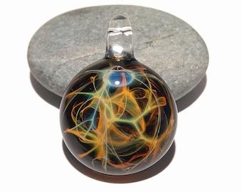 Glass Pendant - Dessert Rain Pendant - Glass Art - Unique Bead - Blown Glass Jewelry - Glass Necklace - Boro Pendant - Universe Filament