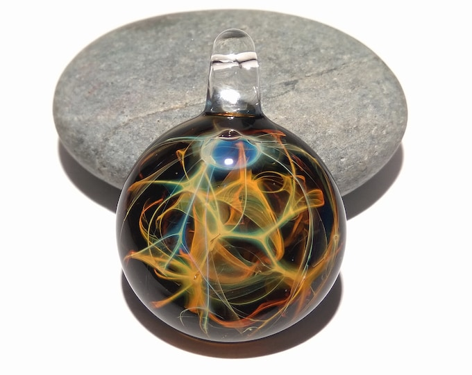 Glass Pendant - Dessert Rain Pendant - Glass Art - Unique Bead - Blown Glass Jewelry - Glass Necklace - Boro Pendant - Universe Filament
