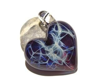 Glass Heart - Deep Violet Heart Pendant - Glass Jewelry - Glass Art - Heart Pendant - Blown Glass - Heart Charm - Unique Bead