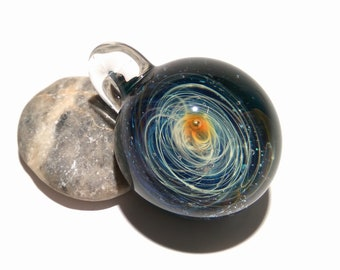 Blown Glass Pendant - Solar Sun Space Scene - Neurology Gift - Trending Art - Science Jewelry - Necklace - Neuroscience - Handmade Glasswork