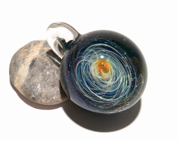 Blown Glass Pendant - Solar Sun Space Scene - Neurology Gift - Trending Art - Science Jewelry - Necklace - Neuroscience - Handmade Glasswork