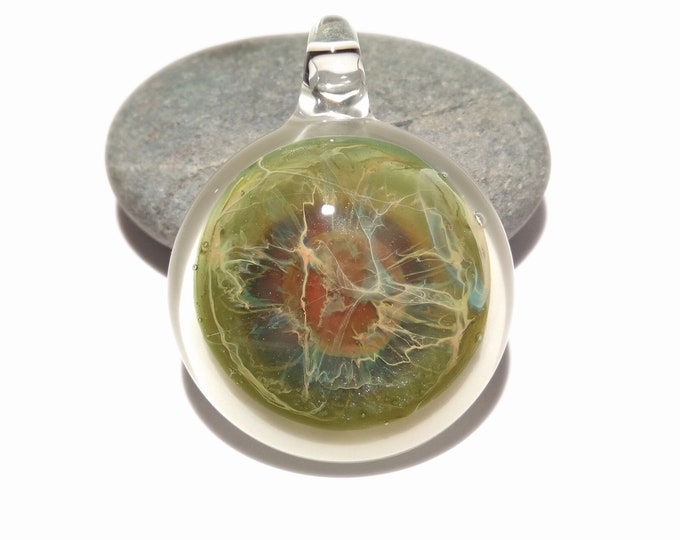 Center Of Life Pendant - Glass Pendant - Handcrafted Glass Necklace - Unique Glass Jewelry - Deatils of Pure SIlver - Free Shipping!