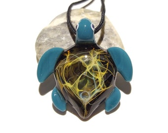 Glass Jewelry - Mystical Jem Mini Turtle Pendant - Glass Art - Blown Glass - Handmade - Unique Jewelry - Boro Pendant - Universe Filament