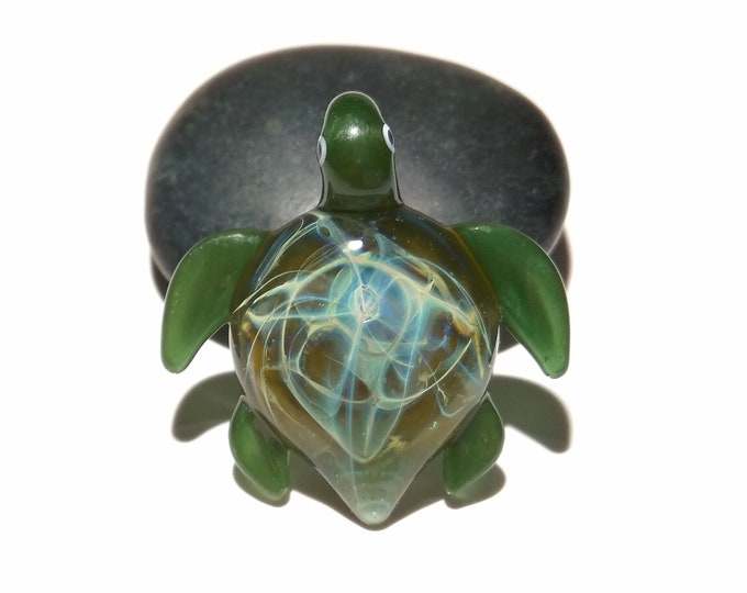 Ultra Small Turtle Pendant - Moss Green - Sea Turtle - Heady Glass - Handmade Blown Glass Jewelry - Turtle Gift  - Borosilicate - Artwork