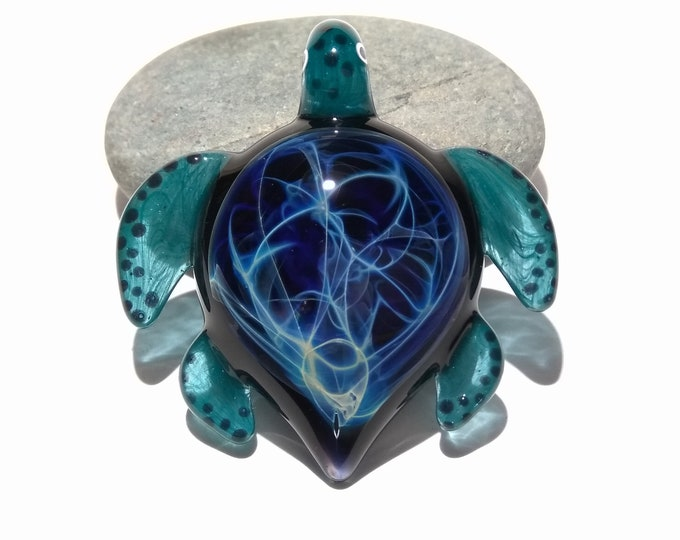 Night Sky Turtle - Glass Pendant - Glass Jewelry - Glass Art - Turtle - Blown Glass - Artist Signed - Details of Pure Silver