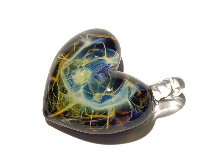 Heart Pendant - Rainbow Lightning Heart - Glass Jewelry - Blown Glass Art - Anniversary - Unique Gift Idea -Trending Handmade Glass Necklace