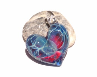 Glass Heart - Blue Violet Valentine Heart Pendant - Glass Jewelry - Glass Art - Love Energy - Blown Glass - Love Charm - Gift For Her
