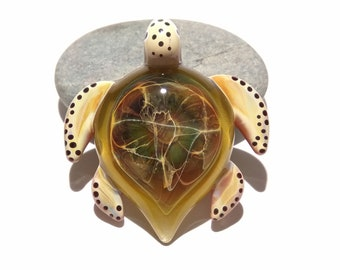 Sea Glass Jewelry - Green Universe Turtle Pendant - Rare Glass - Colorful Art Glass - Handcrafted Glass - Fine Jewelry Gift For Him -Science
