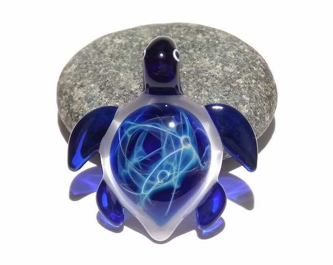 Ultra Small Baby Blue Turtle Pendant - Sea Turtle - Heady Glass - Handmade Blown Glass Jewelry - Turtle Gift  - Borosilicate - Artwork