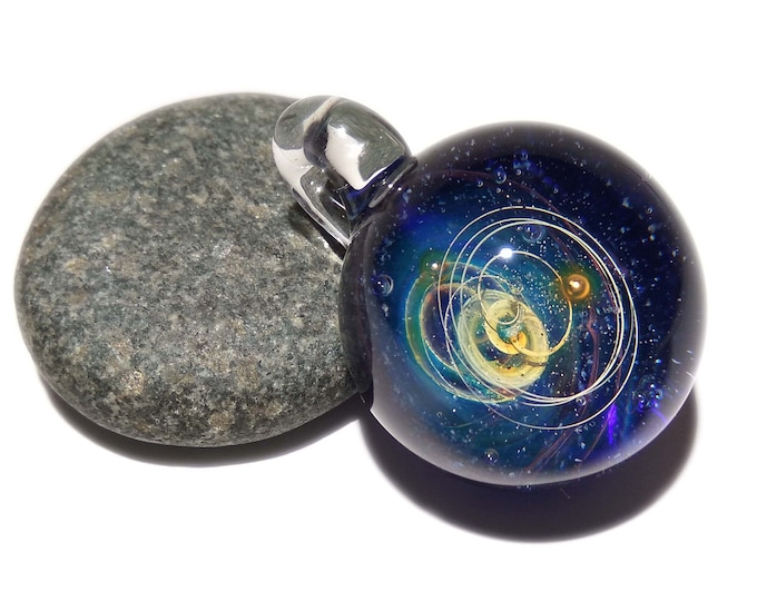 NEW! Blown Glass Pendant - Little Sun Space Scene - Neurology Gift - Trending Art - Science Jewelry - Best Seller -Necklace -Neuroscience