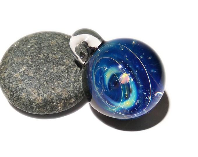NEW! Blown Glass Pendant - Blue Storm - Opal - Space -Neurology Gift - Trending Art - Science Jewelry - Best Seller - Necklace -Neuroscience