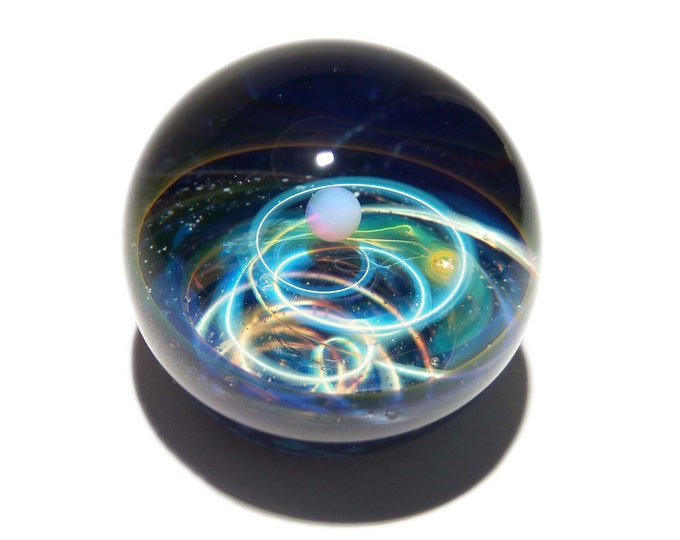 NEW! Paperweight - Glass Art - White Opal Planet - Galaxy - Universe - Blown Glass - Decor - Handmade Gift - Borosilicate - Gift for Her