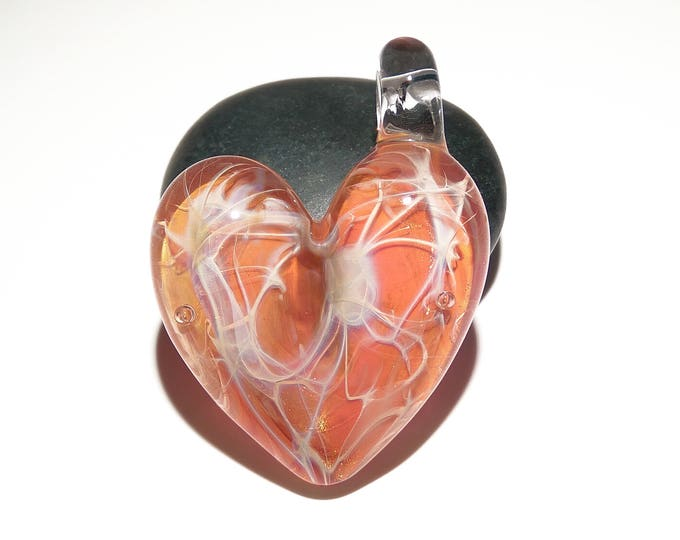 Valentine Glass Pendant - Peach Gold Shimmer Heart - Love Energy - Borosilicate Glass - Gift for Her - Unique Jewelry - Glass Art