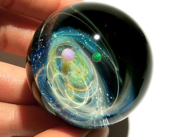 Paperweight - Glass Art - Blue Solar System - Galaxy - Universe - Blown Glass - Home Decor - Handmade Gift - Borosilicate - Gift - Science