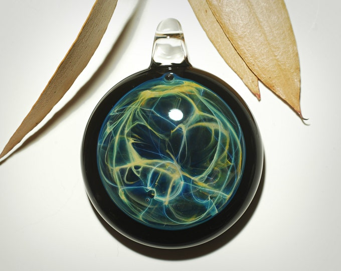 Aquatic Energy Pendant - Neuron Universe Filament - Hand Blown Glass Pendant - Glass Jewelry - Made with Pure Silver - Free Shipping!