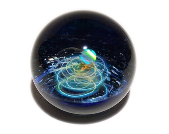 NEW! Paperweight -Glass Art -Bright Star Opal -Galaxy -Universe -Blown Glass -Home Decor -Handmade Gift -Borosilicate -Gift for Him -Science