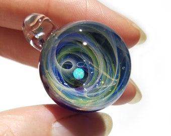 NEW! Blown Glass Pendant -Golden Gift -Infinite Stars -Opal -Space -Neurology Gift -Trending Art -Science Jewelry -Best Seller -Necklace
