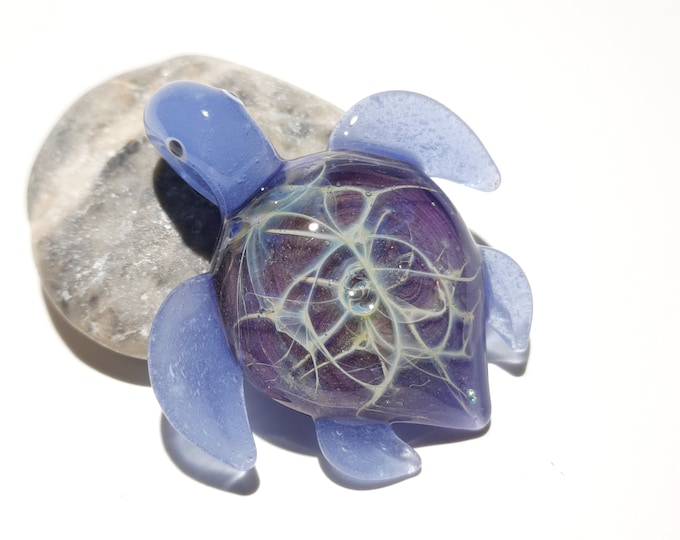 Glass Turtle - Baby Purple Gem Turtle Pendant - Glass Pendant - Cute Glass Jewelry - Blown Glass - Artist Signed - Details of Silver