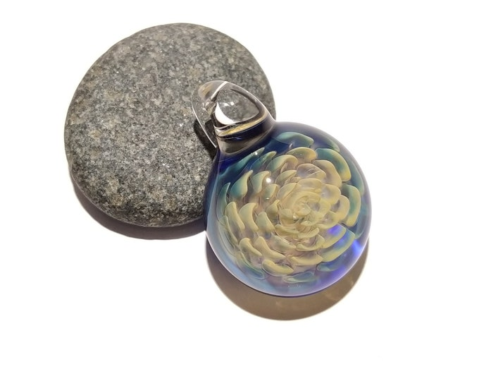 3D Flower Pendant - Handblown Glass Necklace - Gold And Silver Fume - Yellow and Blue - Heady Pendant - Unique Focal Bead - Boro