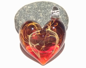 Valentine Glass Heart - Garnet Red - Heart Pendant - Gift for Her - Glass Jewelry - Glass Art - Blown Glass - Heart Charm - Love -Friendship