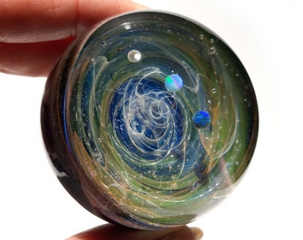 Large Size Galaxy Paperweight - Planetarium Gift - Cosmic Art glass - Three Opal Planets - A Galaxy in Glass - Blown Glass Space Marble