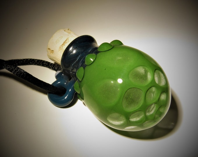HandBlown Vessel Lampwork Pendant Necklace Made from Boro/Borosilicate Glass - Miniature Bottle pendant - Tiny Treasure - Handmade Glass