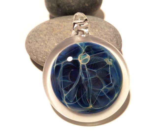 Blue Space Pendant - Glass Necklace - Hand Blown Glass Jewelry - Original Design - Universe Filament -  Pure Fine Silver