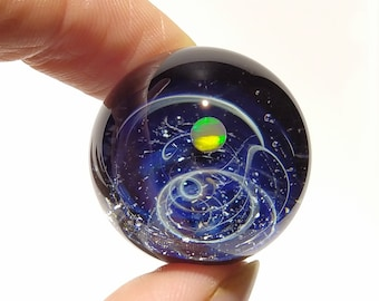 Cosmic Space Ball - Glass Art - Orange Fire Opal Planet - Galaxy - Universe - Blown Glass - Decor - Handmade Gift - Night Sky - Stars